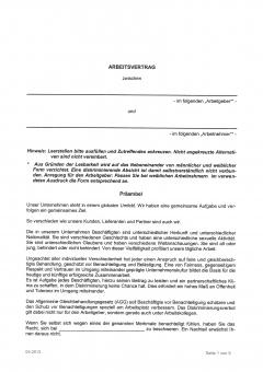 Arbeitsvertrag für das Hotel- & Gaststättengewerbe NRW