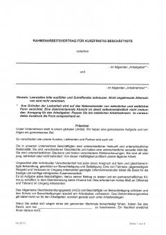 Arbeitsvertrag für kurzfristig beschäftigte Arbeitnehmer NRW