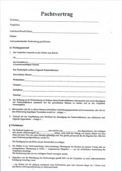 Pachtvertrag mit Merkblatt für Niedersachsen