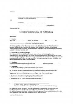 Befristeter Arbeitsvertrag Berlin, mit Tarifbindung
