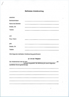 Befristeter Arbeitsvertrag Mecklenburg-Vorpommern