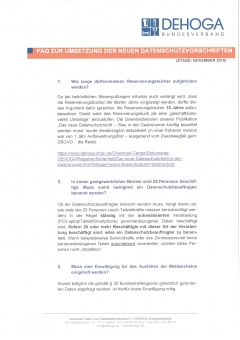 DEHOGA-FAQ zur Umsetzung des neuen Datenschutzrechts PDF