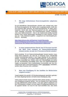 DEHOGA-FAQ zur Umsetzung des neuen Datenschutzrechts