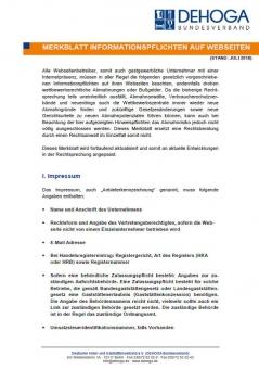 DEHOGA Merkblatt Informationspflichten auf Webseiten 2018 PDF