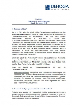 DEHOGA-Merkblatt zum neuen Verpackungsgesetz ab 01.01.2019