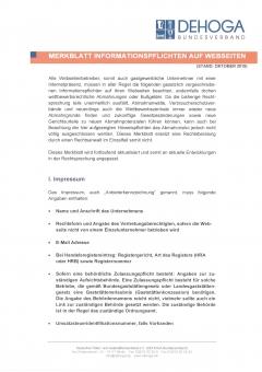DEHOGA Merkblatt Informationspflichten auf Webseiten 2019 PDF