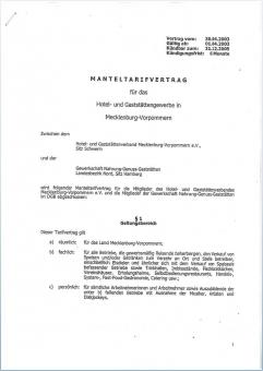 Manteltarifvertrag  Mecklenburg-Vorpommern
