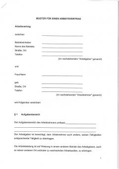 Muster-Arbeitsvertrag Mecklenburg-Vorpommern