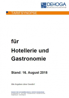 Tarifsynopse 2018 für Hotellerie und Gastronomie