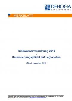 DEHOGA-Merkblatt zur Trinkwasserverordnung 2018