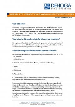 Merkblatt - Verbotene Einwegkunststoffprodukte ab 03.07.21 PDF