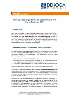 Merkblatt Mehrwegverpackungspflicht Gastronomie ab 2023 PDF