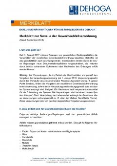 DEHOGA Merkblatt Novelle der Gewerbeabfallverordnung PDF