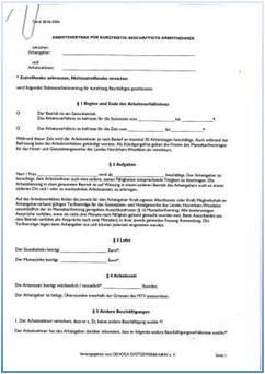 Dehoga Shop Arbeitsvertrag Für Kurzfristig Beschäftigte