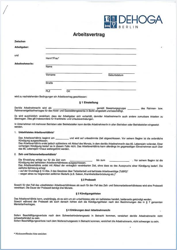 Dehoga Shop Arbeitsvertrag Berlinlangfassung Mit Tarifbindung