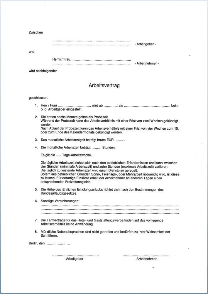 Dehoga Shop Arbeitsvertrag Berlin Kurzfassung Ohne Tarifbindung