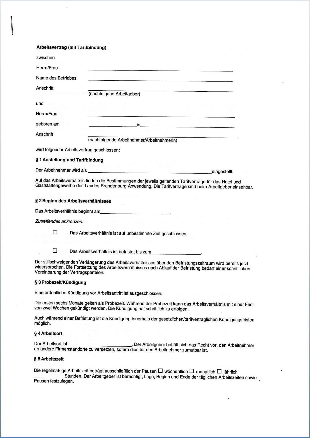 Dehoga Shop Arbeitsvertrag Mit Tarifbindung Für Das Land